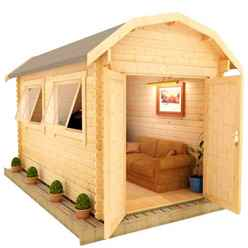 12ft x 8ft Neo Barn 28mm Log Cabin (19mm Tongue and Groove Floor and Roof) (3550x2350)
