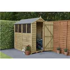 INSTALLED 6ft x 4ft (1.8m x 1.3m)  Pressure Treated Overlap Apex Wooden Garden Shed with Single Door and 4 Window - Modular - INSTALLATION INCLUDED