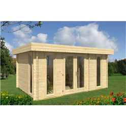 4.7m x 3.2m Log Cabin - Double Glazing (28mm Wall Thickness) - 3 Single Windows - Double Doors + Internal Wall and Single Door - *Flash Reduction - Fast Delivery
