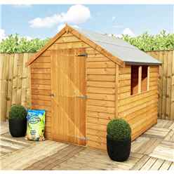 **FLASH REDUCTION** 8ft x 6ft  (2.39m x 1.83m) - Pressure Treated - Super Value Overlap - Apex Wooden Garden Shed - 2 Windows - Single Door - 10mm Solid OSB Floor - CORE
