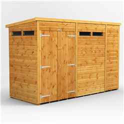 10ft x 4ft Security Tongue and Groove Pent Shed - Double Doors - 4 Windows - 12mm Tongue and Groove Floor and Roof