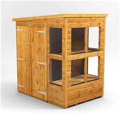 6ft x 4ft Premium Tongue and Groove Pent Potting Shed - Double Doors - 8 Windows - 12mm Tongue and Groove Floor and Roof