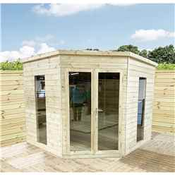 9 x 9 Corner Pressure Treated T&G Pent Summerhouse + Safety Toughened Glass + Euro Lock with Key + SUPER STRENGTH FRAMING
