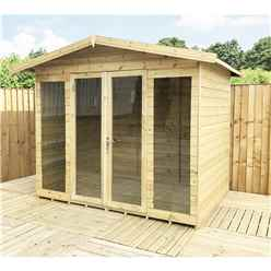 8ft x 11ft Pressure Treated Tongue & Groove Apex Summerhouse - LONG WINDOWS - with Higher Eaves and Ridge Height + Overhang + Toughened Safety Glass + Euro Lock with Key + SUPER STRENGTH FRAMING