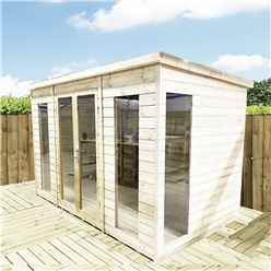 13ft x 9ft PENT Pressure Treated Tongue & Groove Pent Summerhouse with Higher Eaves and Ridge Height Toughened Safety Glass + Euro Lock with Key + SUPER STRENGTH FRAMING