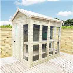 10ft x 7ft Pressure Treated Tongue And Groove Apex Summerhouse - Potting Summerhouse - Bench + Safety Toughened Glass + Euro Lock with Key + SUPER STRENGTH FRAMING