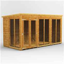 12ft X 6ft Premium Tongue And Groove Pent Summerhouse - Double Doors - 12mm Tongue And Groove Floor And Roof