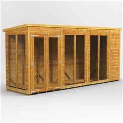 14ft X 4ft Premium Tongue And Groove Pent Summerhouse - Double Doors - 12mm Tongue And Groove Floor And Roof