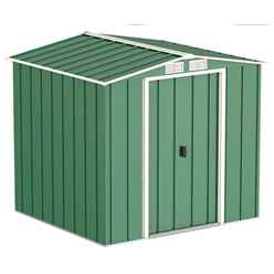 OOS - BACK W/C 15TH MARCH 2021 - 6ft x 6ft Value Apex Metal Shed - Green (2.01m x 1.82m)