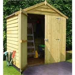 4ft x 6ft (1.19m x 1.79m) - Pressure Treated Overlap - Apex Garden Shed - Windowless - Double Doors - 10mm Solid OSB Floor - CORE