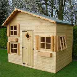 8ft x 6ft (2.40m x 1.76m) - Stowe Playhouse - 12mm Tongue & Groove - 4 Opening Windows - Single Door - Apex Roof