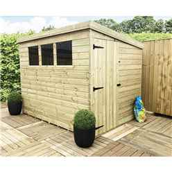 7FT x 7FT Pressure Treated Tongue & Groove Pent Shed + 3 Windows + Side Door + Safety Toughened Glass