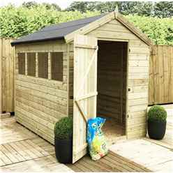 7FT x 6FT PREMIER PRESSURE TREATED TONGUE & GROOVE SINGLE DOOR APEX SHED WITH 3 WINDOWS + HIGHER EAVES & RIDGE HEIGHT + SAFETY TOUGHENED GLASS
