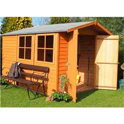 10ft x 7ft (2.97m x 2.04m) - Dip Treated Overlap - Apex Garden Shed - 2 Opening Windows - Double Doors - 10mm Solid OSB Floor