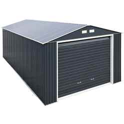 OOS - BACK SEPTEMBER 2021 - 12ft x 32ft Value - Metal Garage - Anthracite Grey (3.72m x 9.65m)
