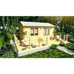 6m x 4m Premier Vars Log Cabin - Double Glazing - 70mm Wall Thickness
