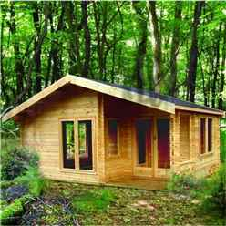 5.90m x 3.89m Tongue and Groove Log Cabin - 44mm Wall Thickness