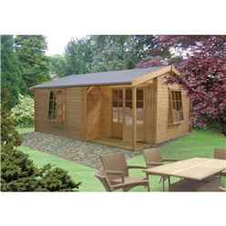 3.59m x 5.34m Spacious Log Cabin - 28mm Wall Thickness
