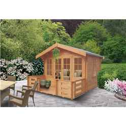 3.59m x 3.59m Classic Styled Log Cabin - 44mm Wall Thickness