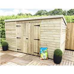 14FT x 3FT Pressure Treated Windowless Tongue & Groove Pent Shed + Double Doors Centre