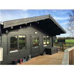 6m x 8m Premier Classroom Log Cabin - Insulated - 70mm Wall Thickness - Double Glazing - Toughened Safety Glass Plus 6m x 11m Veranda