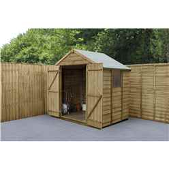 INSTALLED 7ft x 5ft (1.5m x 2.2m)  Pressure Treated Overlap Apex Wooden Garden Shed With Double Doors and 2 Windows - Modular- INSTALLATION INCLUDED