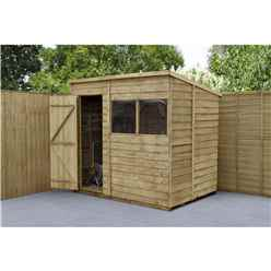 INSTALLED 7ft x 5ft (1.5m x 2.1m) Pressure Treated Overlap Pent Shed With Single Door and 2 Windows - Modular - INSTALLATION INCLUDED