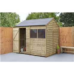 INSTALLED 6ft x 8ft (1.9m x 2.4m) Overlap Pressure Treated Reverse Apex Shed With Single Door and 1 Window - Modular - INSTALLATION INCLUDED (CORE)