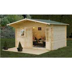 INSTALLED 4m x 3m Apex Log Cabin with Double Doors and an Apex Overhang Roof (34mm Wall Thickness) **Includes Free Shingles** - INSTALLATION INCLUDED