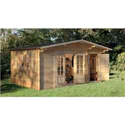 INSTALLED 4.5m x 3.5m Log Cabin with Integrated Storage Shed and Overhang (34mm Wall Thickness) **Includes Free Shingles** - INSTALLATION INCLUDED