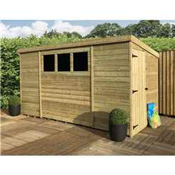 9FT x 8FT Pressure Treated Tongue & Groove Pent Shed + 3 Windows And Single Door + Safety Toughened Glass  (Please Select Left Or Right Panel for Door)