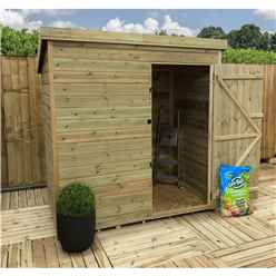 5FT x 3FT Pressure Treated Tongue & Groove Pent Shed + Single Door