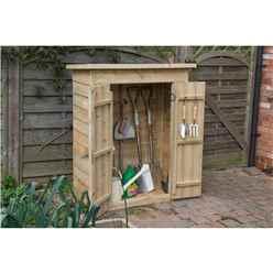 Pressure Treated Overlap Pent Garden Store With Double Doors (132 x 108 x 55cm)