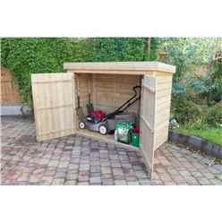 """INSTALLED 2'8"""" x 6'3"""" Pressure Treated Overlap Pent Large Store With Tongue and Groove Front Panel and Doors (145 x 193 x 85 cm) - INSTALLATION INCLUDED"""