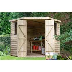 7ft x 7ft (2.9m x 2.3m) Pressure Treated Overlap Corner Shed With Double Doors and 2 Windows