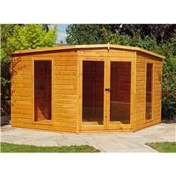 10ft x 10ft (2.99m x 2.99m) - Premier Corner Wooden Summerhouse - Double Doors - 12mm T&G Walls - Floor - Roof (BS CORE)