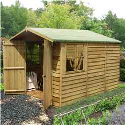 10ft x 7ft (2.97m x 2.04m) - Pressure Treated Overlap - Apex Wooden Garden Shed - 2 Opening Windows - Double Doors - 10mm Solid OSB Floor - CORE