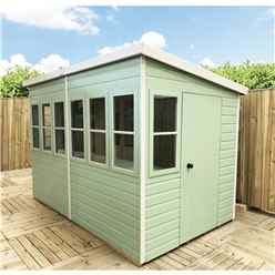 8ft x 8ft (2.44m x 2.39m) - Tongue And Groove - Pent Potting Shed - 2 Opening Windows - Single Door - 12mm Tongue And Groove Floor & Roof (BS CORE)
