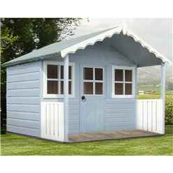 ** IN STOCK LIVE BOOKING ** 6ft x 4ft (1.79m x 1.19m) - Wooden Stork Playhouse - 12mm Tongue & Groove - 2 Opening Windows - Single Door - Apex Roof