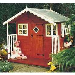 6ft x 6ft (1.79m x 1.79m) - Wooden Den Playhouse  - 12mm Tongue & Groove - 2 Fixed Windows - 2 Opening Windows - Single Door - Apex Roof