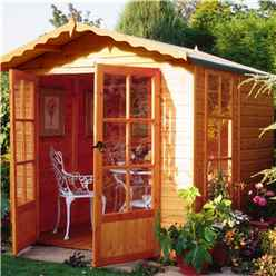 7ft x 7ft (2.05m x 1.98m) - Premier Pressure Treated Wooden Summerhouse - Double Doors - 1 Opening Window - 12mm T&G Walls - Floor - Roof