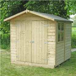 INSTALLED 7ft x 7ft (2.09m x 2.09m) - Pressure Treated Tongue And Groove - Apex Workshop - 1 Opening Window - Double Doors - 12mm Tongue And Groove Floor - INCLUDES INSTALLATION