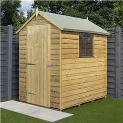 6 x 4 Overlap Pressure Treated Apex Shed With Single Door And 1 Window (8mm Overlap)