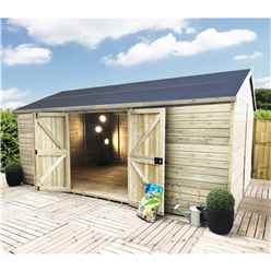 19FT x 13FT WINDOWLESS REVERSE PREMIER PRESSURE TREATED TONGUE & GROOVE APEX WORKSHOP + HIGHER EAVES & RIDGE HEIGHT + DOUBLE DOORS (12mm Tongue & Groove Walls, Floor & Roof) + SUPER STRENGTH FRAMING