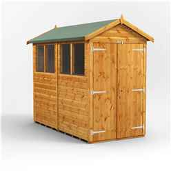 8ft x 4ft Premium Tongue and Groove Apex Shed - Double Doors - 4 Windows - 12mm Tongue and Groove Floor and Roof