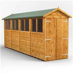 16 X 4 Premium Tongue And Groove Apex Shed - Double Doors - 8 Windows - 12mm Tongue And Groove Floor And Roof