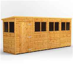 16ft x 4ft Premium Tongue and Groove Pent Shed - Single Door - 8 Windows - 12mm Tongue and Groove Floor and Roof