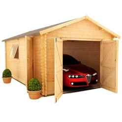 20ft x 12ft Monty Workshop 44mm Log Cabin (19mm Tongue and Groove Roof) (5950x3550)