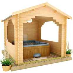 10ft x 10ft Garden Shelter (44mm Log Thickness) (2950x2950)