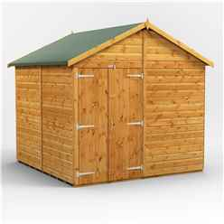 8ft x 8ft  Premium Tongue and Groove Apex Shed - Double Doors - Windowless - 12mm Tongue and Groove Floor and Roof